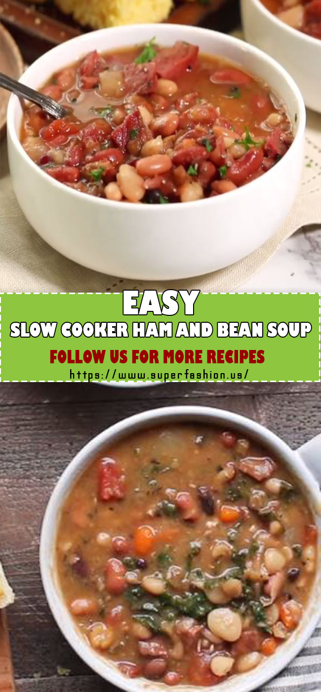 slow cooker ham and beans soup