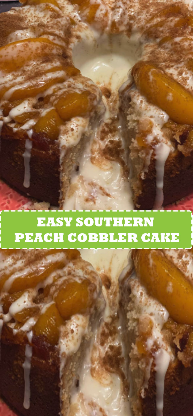 southern peach cobbler cake