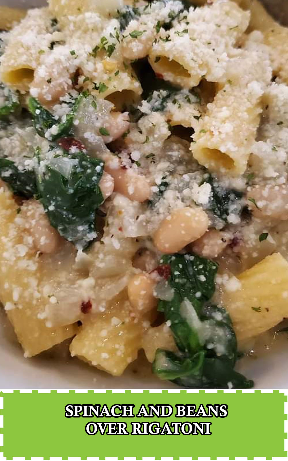 spinach and beans rigatoni