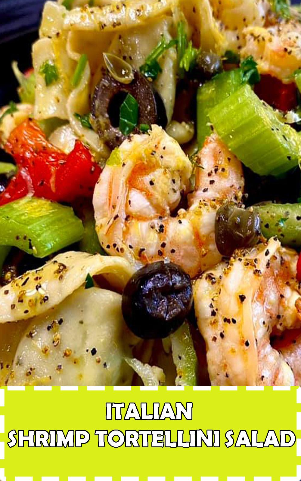 Italian shrimp tortellini pasta salad